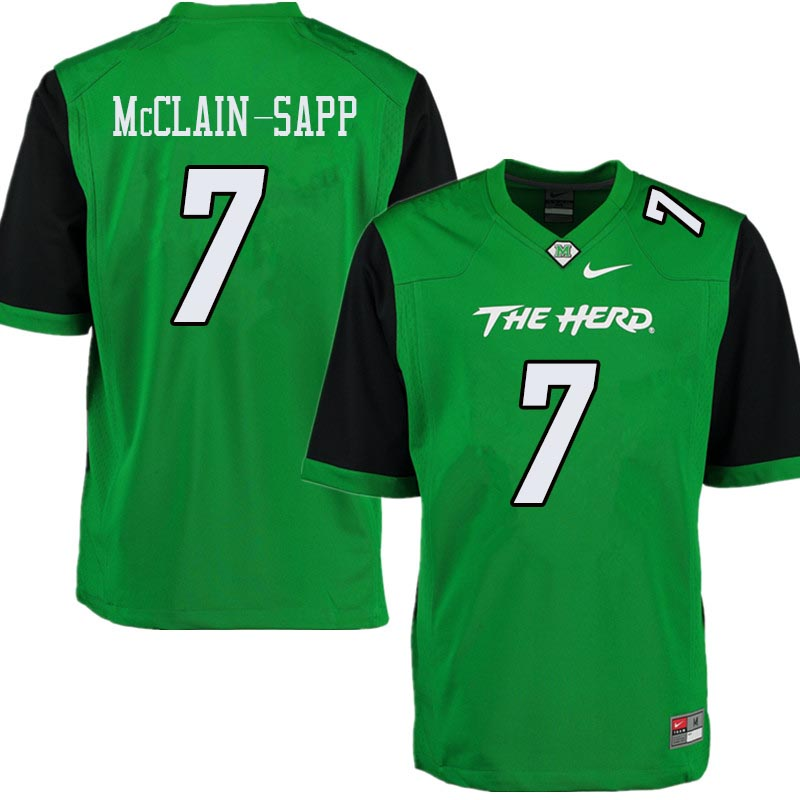 Men #7 Jaylon McClain-Sapp Marshall Thundering Herd College Football Jerseys Sale-Green