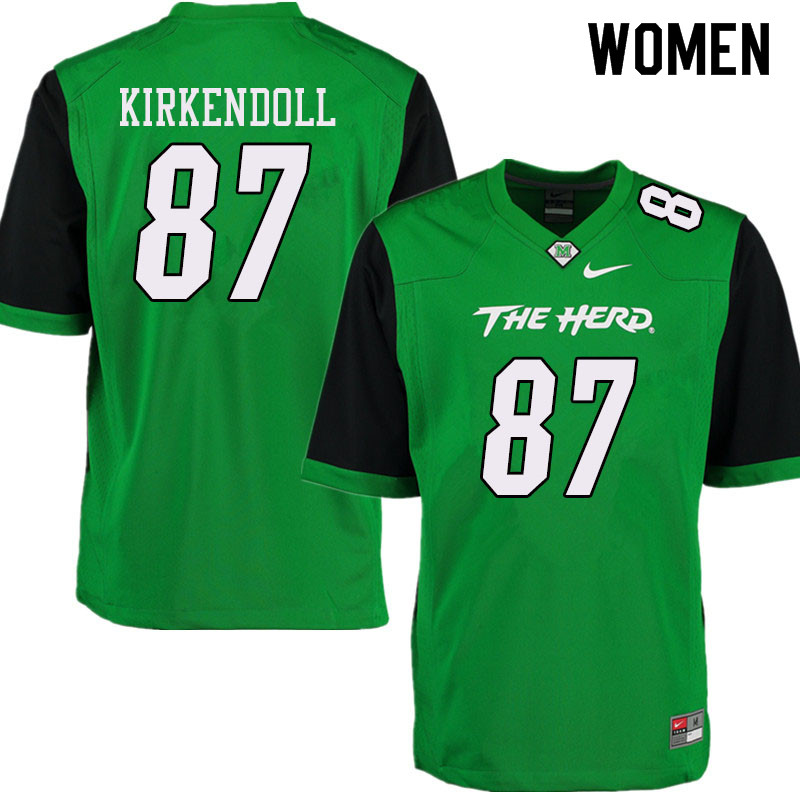 Women #87 Jacob Kirkendoll Marshall Thundering Herd College Football Jerseys Sale-Green