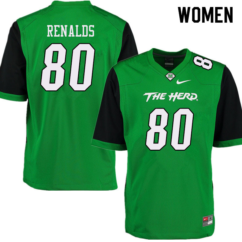Women #80 Naquan Renalds Marshall Thundering Herd College Football Jerseys Sale-Green
