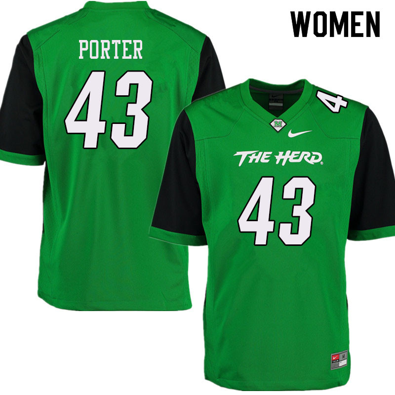 Women #43 Owen Porter Marshall Thundering Herd College Football Jerseys Sale-Green