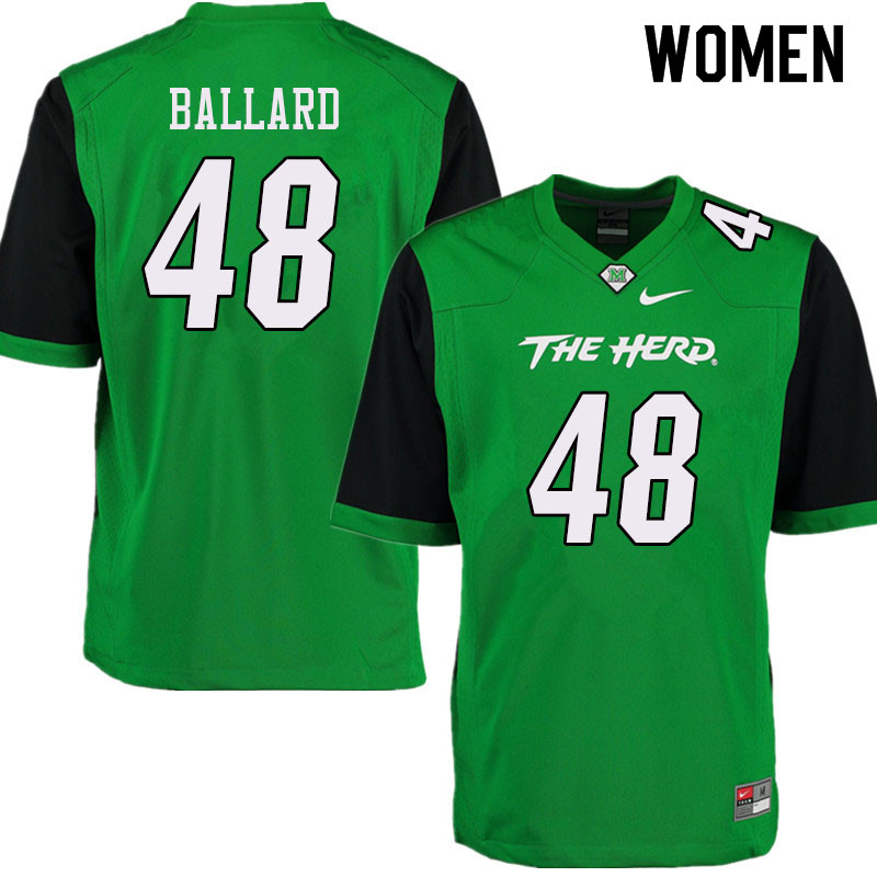 Women #48 Paris Ballard Marshall Thundering Herd College Football Jerseys Sale-Green
