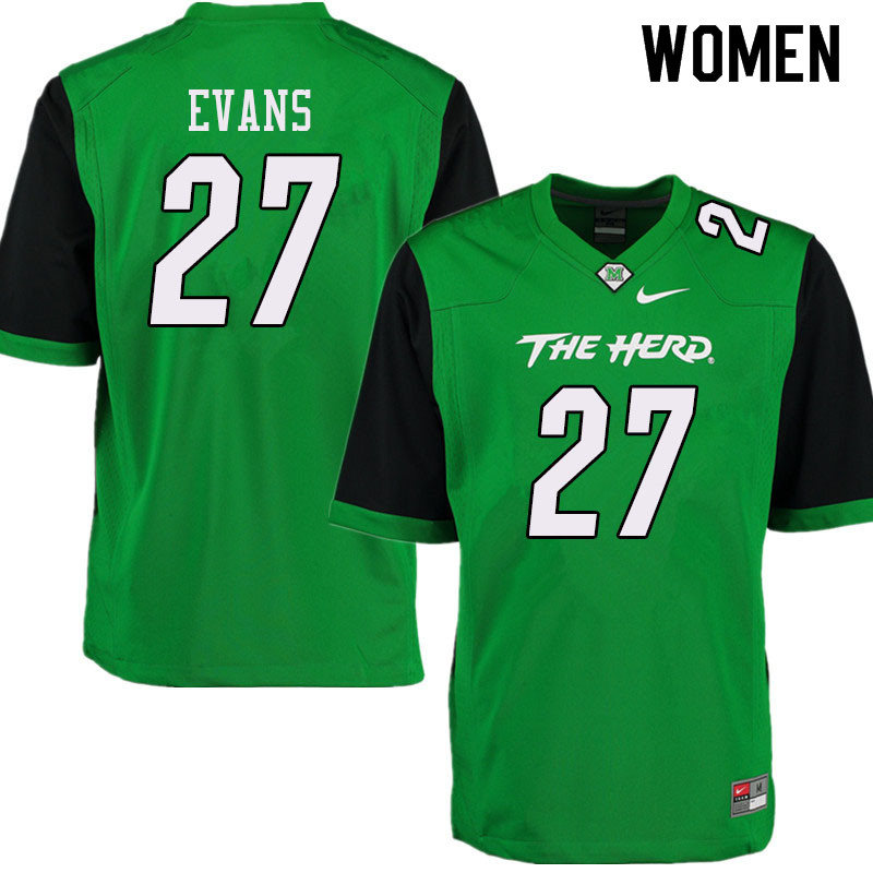 Women #27 Sheldon Evans Marshall Thundering Herd College Football Jerseys Sale-Green