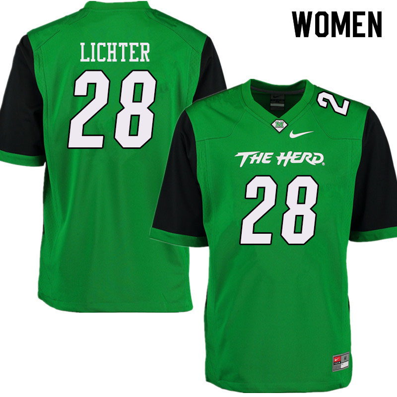 Women #28 Tyler Lichter Marshall Thundering Herd College Football Jerseys Sale-Green