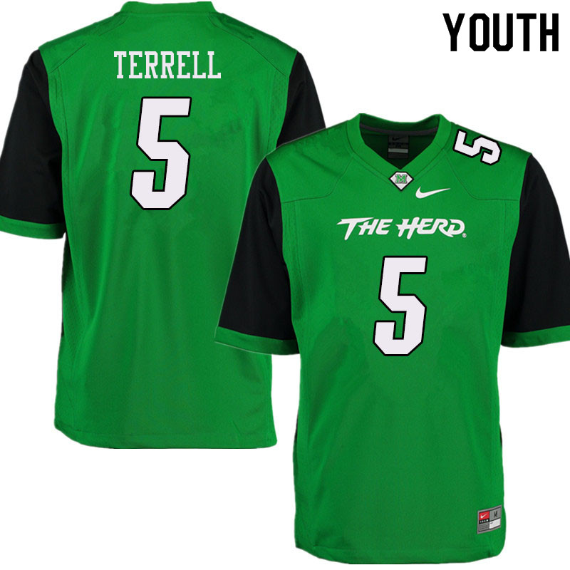 Youth #5 Ty Terrell Marshall Thundering Herd College Football Jerseys Sale-Green