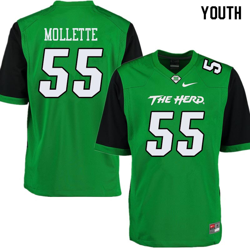 Youth #55 Alex Mollette Marshall Thundering Herd College Football Jerseys Sale-Green