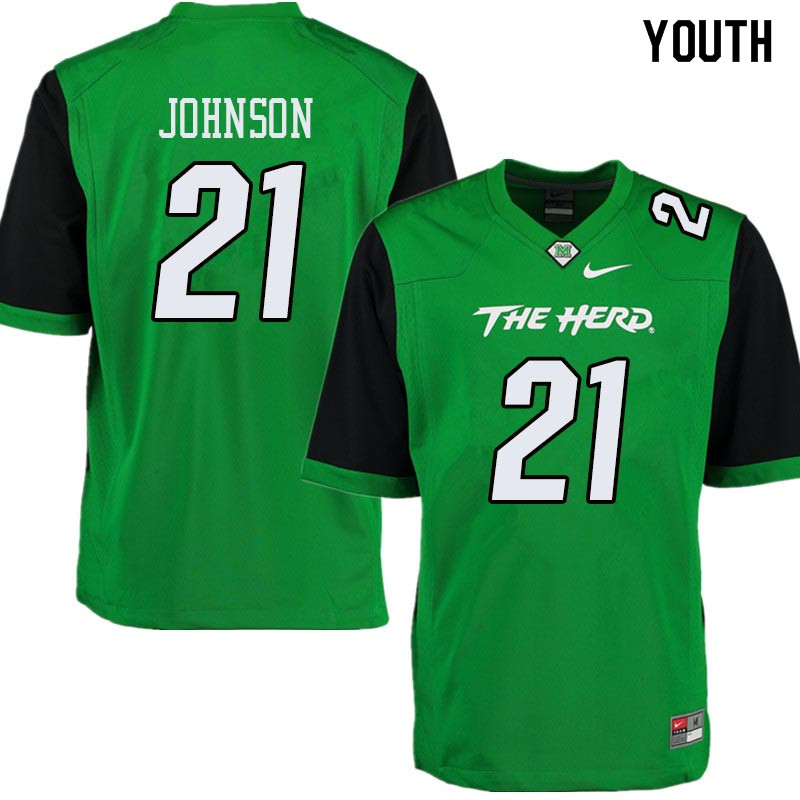 Youth #21 Artis Johnson Marshall Thundering Herd College Football Jerseys Sale-Green