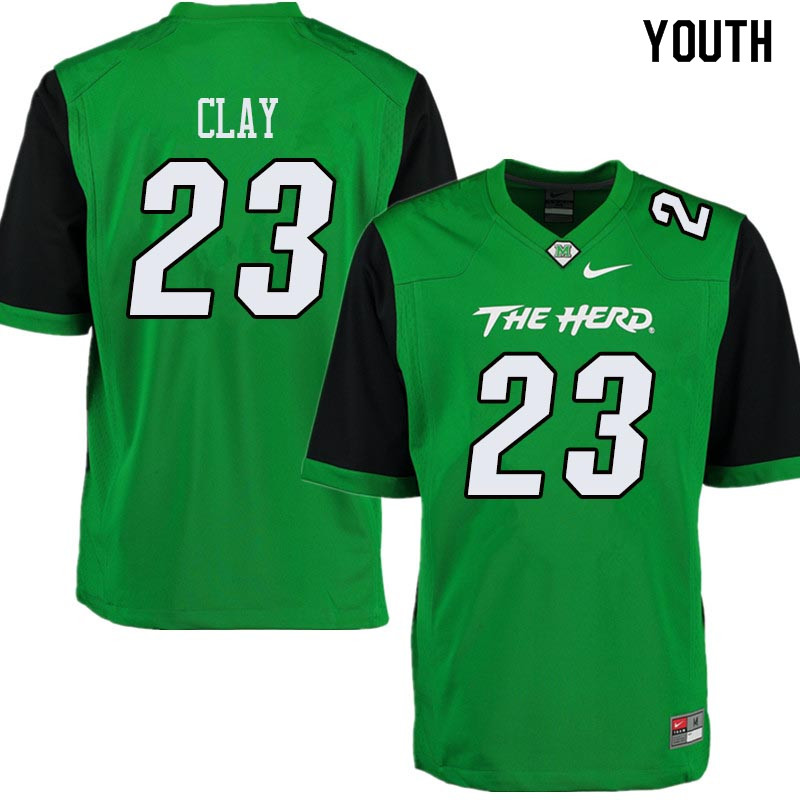 Youth #23 Chad Clay Marshall Thundering Herd College Football Jerseys Sale-Green