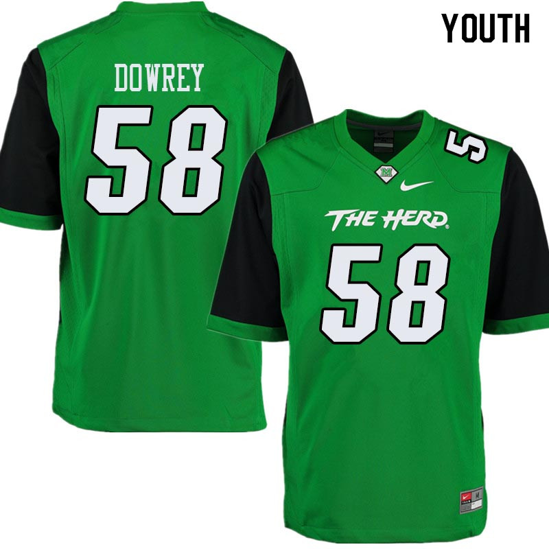 Youth #58 Jordan Dowrey Marshall Thundering Herd College Football Jerseys Sale-Green
