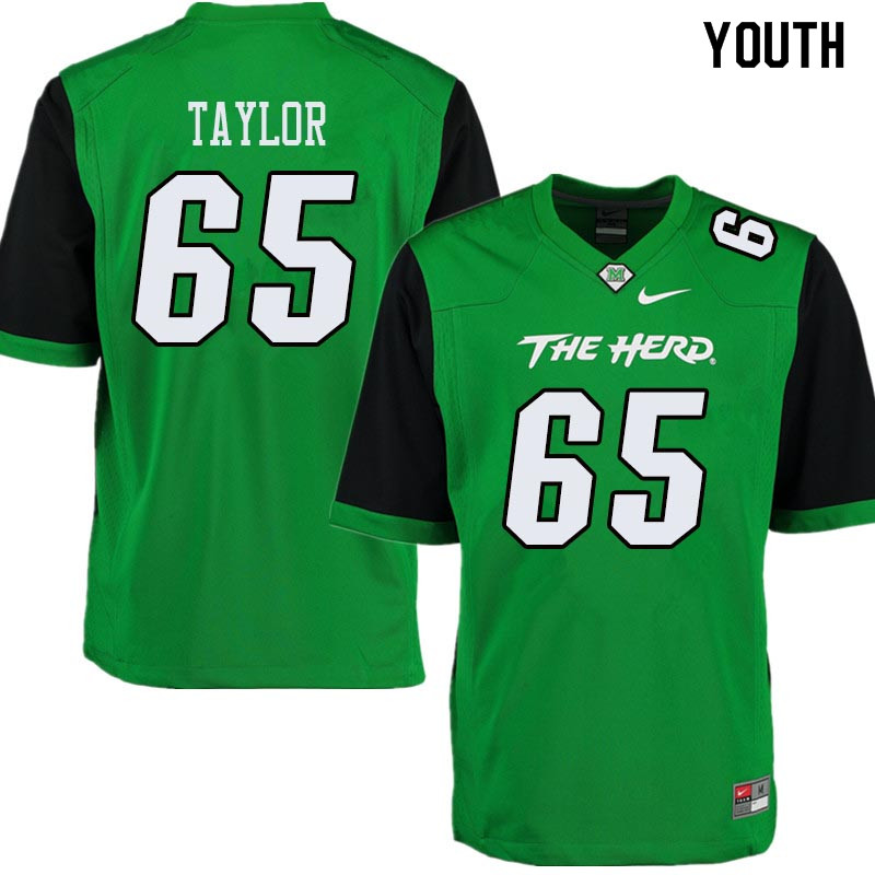 Youth #65 Kyron Taylor Marshall Thundering Herd College Football Jerseys Sale-Green