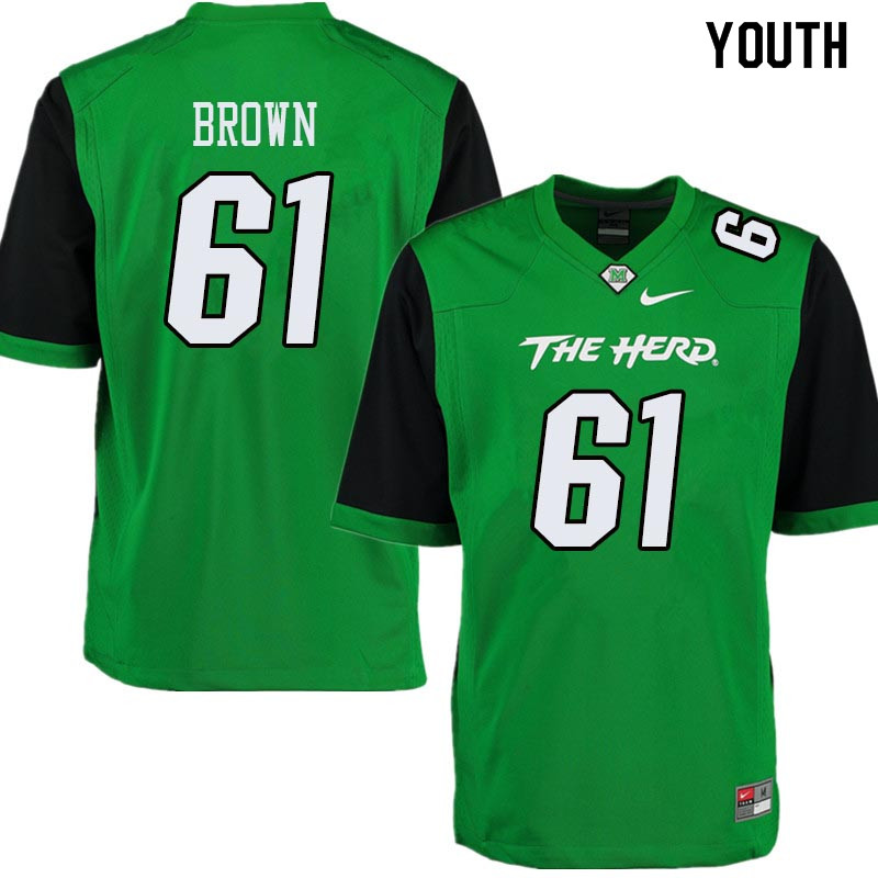 Youth #61 Levi Brown Marshall Thundering Herd College Football Jerseys Sale-Green