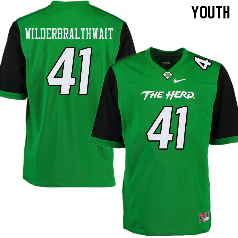 Youth #41 Trent Wilderbralthwait Marshall Thundering Herd College Football Jerseys Sale-Green